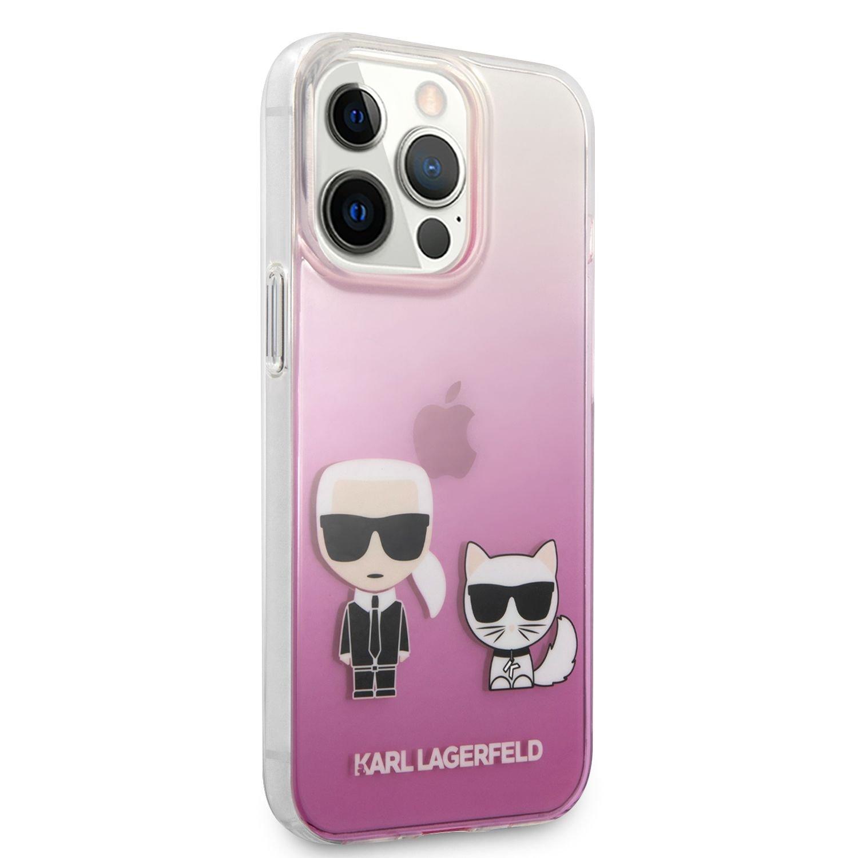 Zadní kryt Karl Lagerfeld PC/TPU Ikonik Karl and Choupette KLHCP13SCKTRP pro Apple iPhone 13 mini, růžová