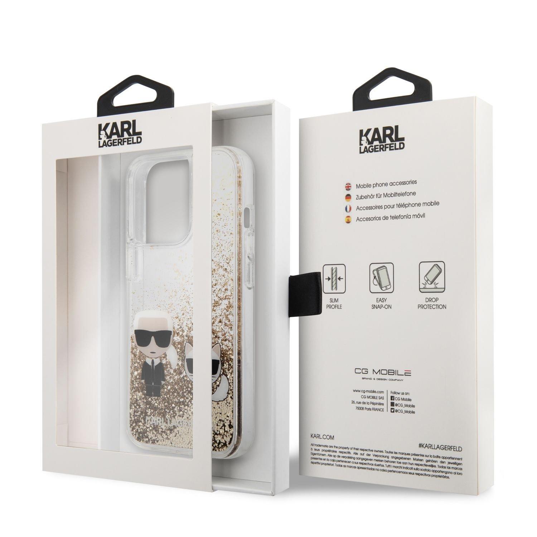 Zadní kryt Karl Lagerfeld Liquid Glitter Karl and Choupette KLHCP13XGKCD pro Apple iPhone 13 Pro Max, zlatá
