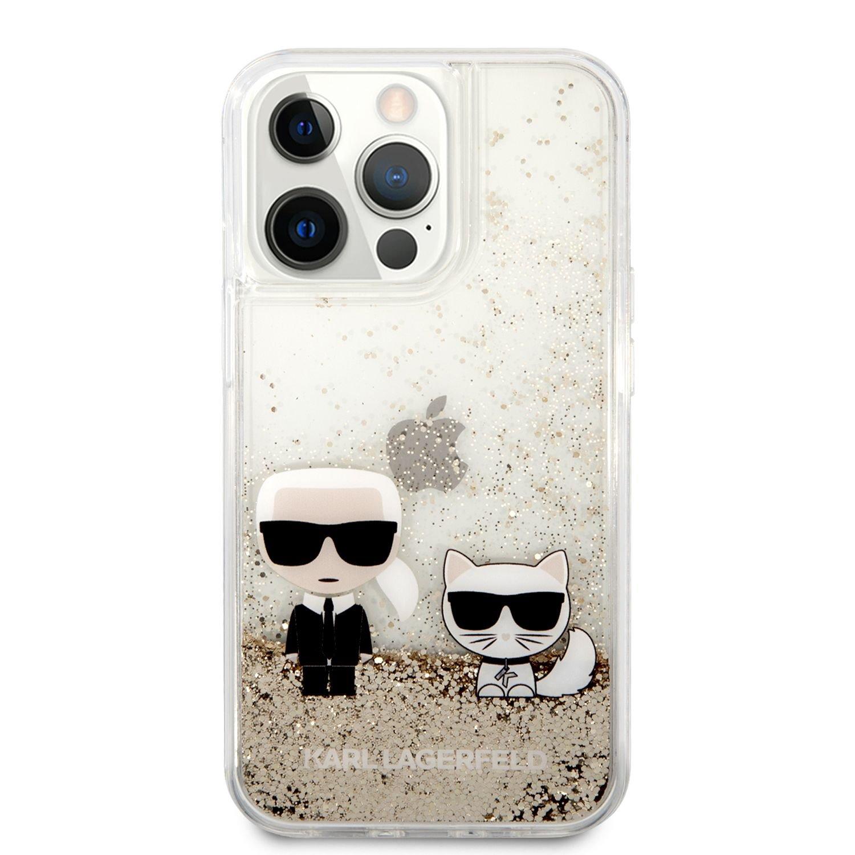 Zadní kryt Karl Lagerfeld Liquid Glitter Karl and Choupette KLHCP13LGKCD pro Apple iPhone 13 Pro, zlatá
