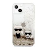 Zadní kryt Karl Lagerfeld Liquid Glitter Karl and Choupette KLHCP13MGKCD pro Apple iPhone 13, zlatá