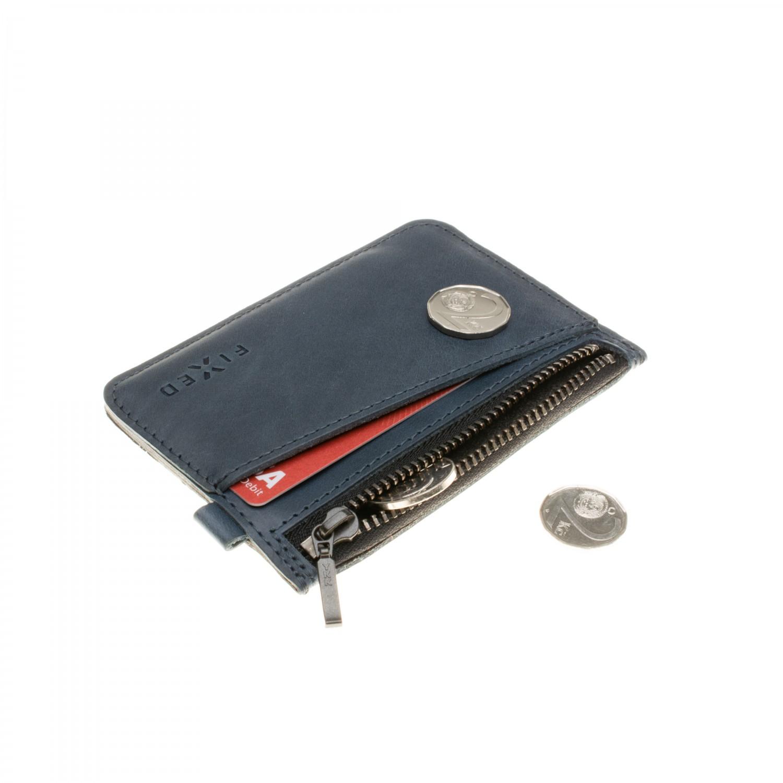 Kožená peněženka FIXED Smile Coins se smart trackerem FIXED Smile Pro, modrá