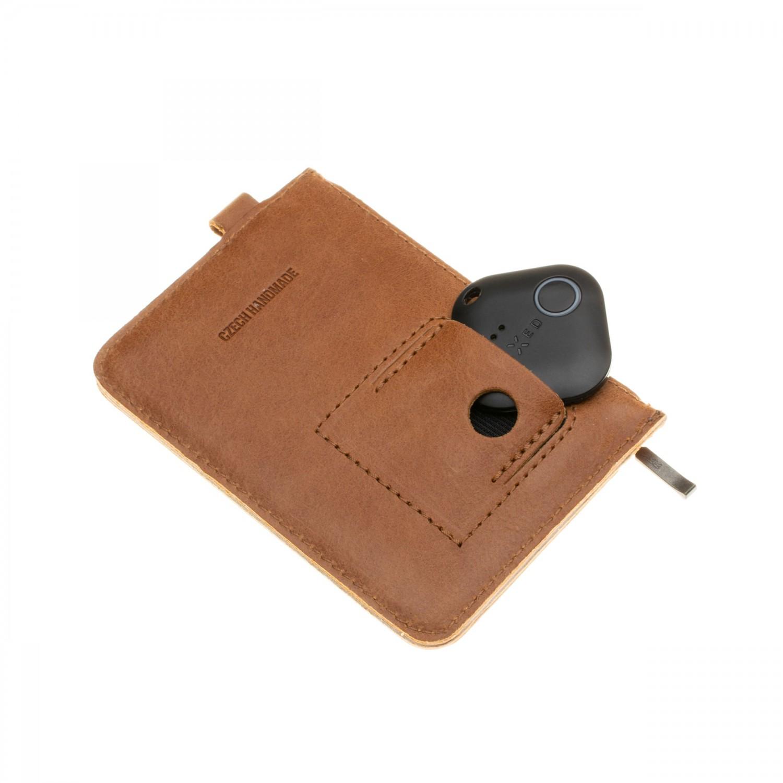 Kožená peněženka FIXED Smile Coins se smart trackerem FIXED Smile Pro, hnědá