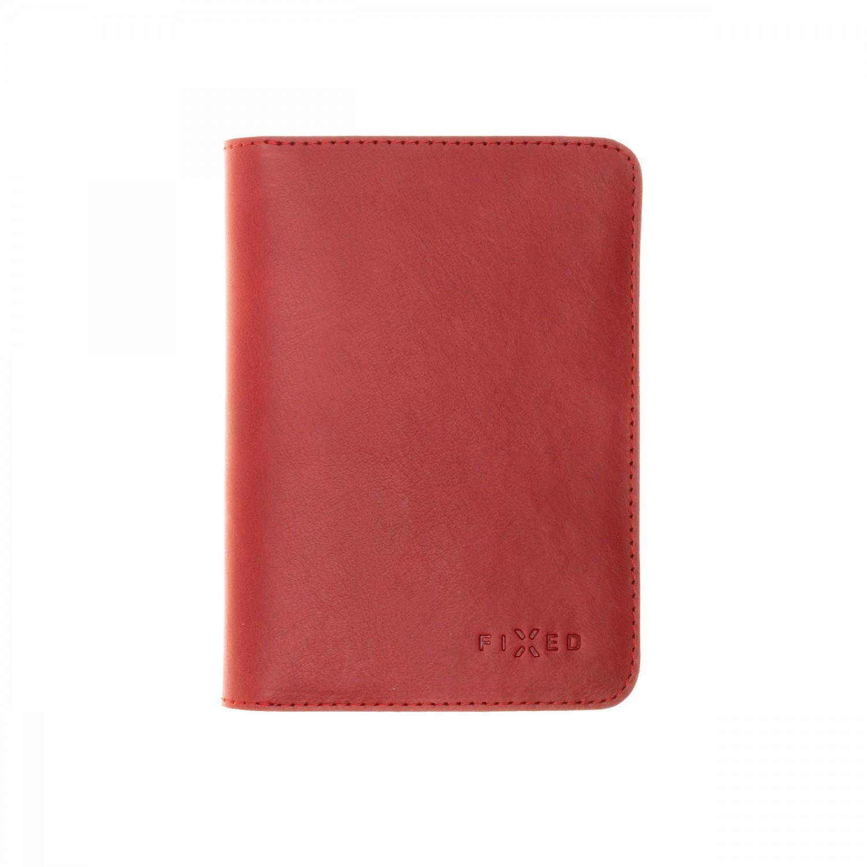 Kožená peněženka FIXED Smile Passport se smart trackerem FIXED Smile PRO, červená