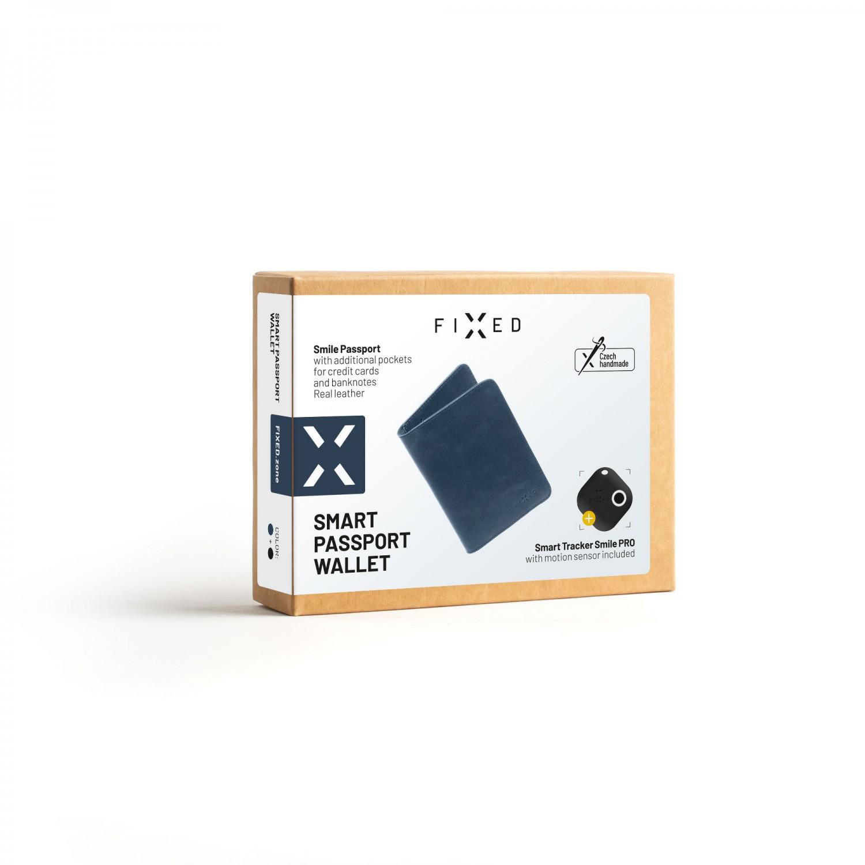Kožená peněženka FIXED Smile Passport se smart trackerem FIXED Smile PRO, modrá