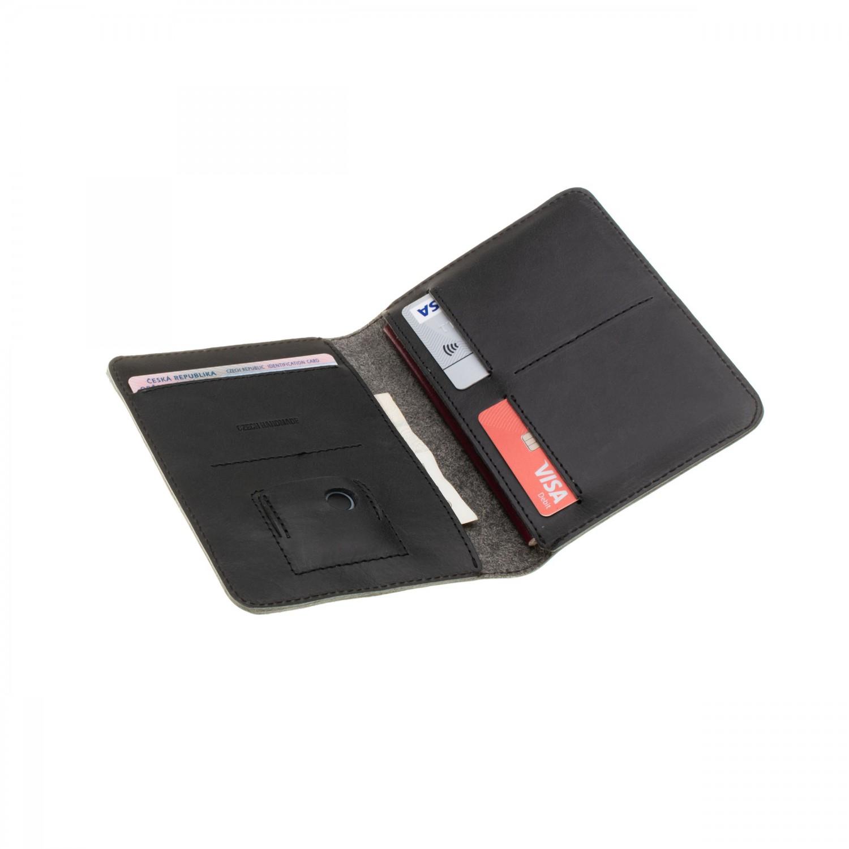 Kožená peněženka FIXED Smile Passport se smart trackerem FIXED Smile PRO, černá