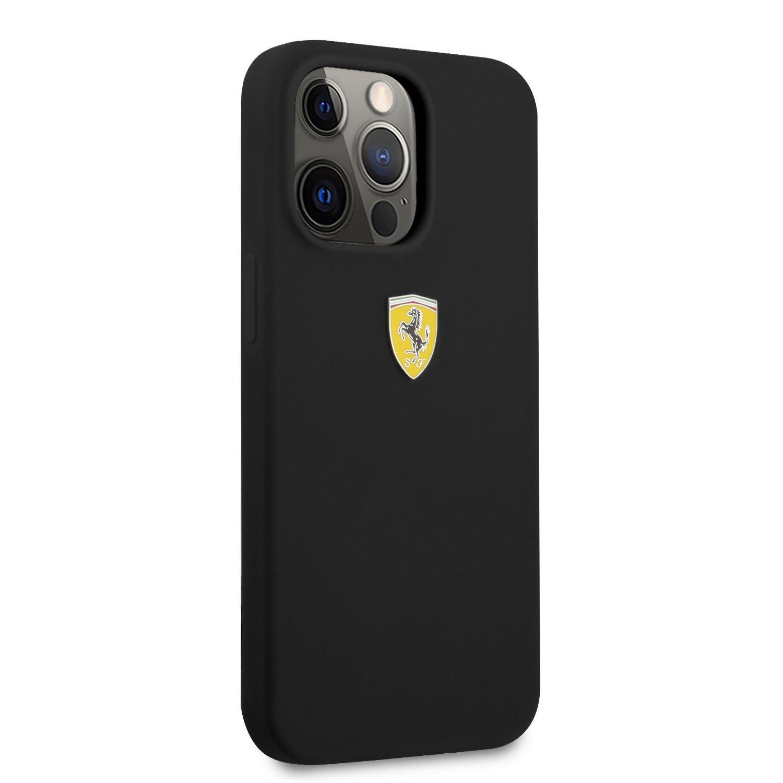 Silikonový kryt Ferrari Liquid Silicone Metal Logo FESSIHCP13LBK pro Apple iPhone 13 Pro, černá