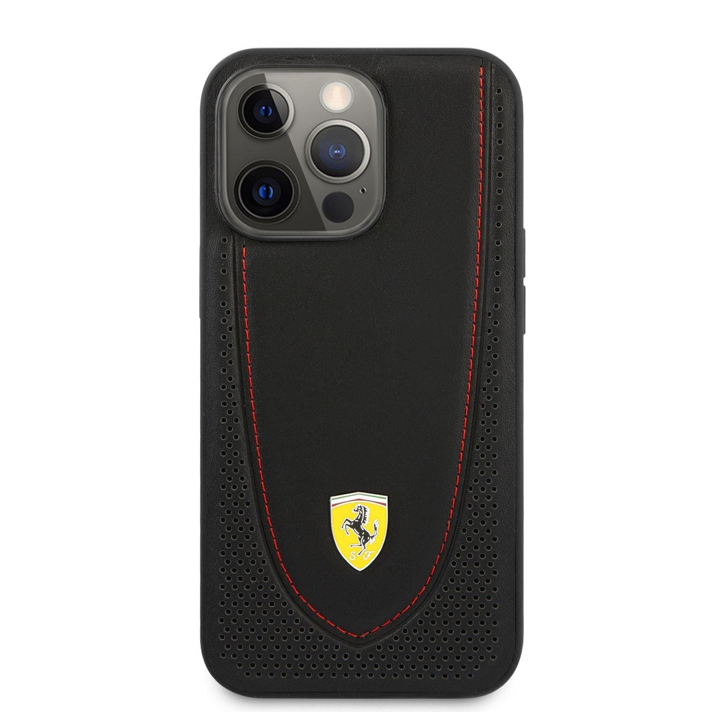 Ochranný kryt Ferrari Leather with Curved Line FEHCP13XRGOK pro Apple iPhone 13 Pro Max, černá