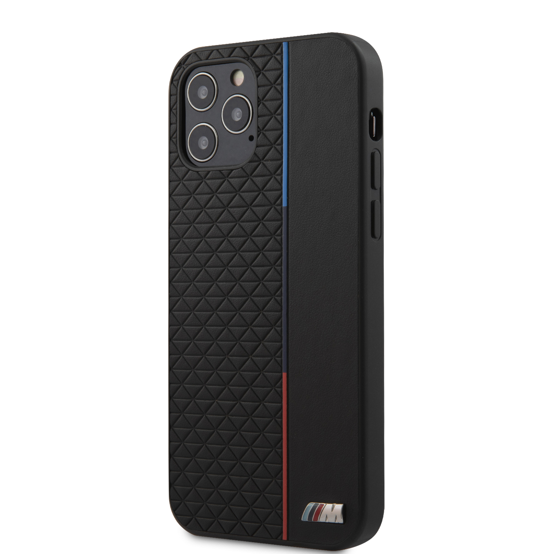 Ochranný kryt BMW PU Triangles Tricolor Line BMHCP13STRTBK pro Apple iPhone 13 mini, černá
