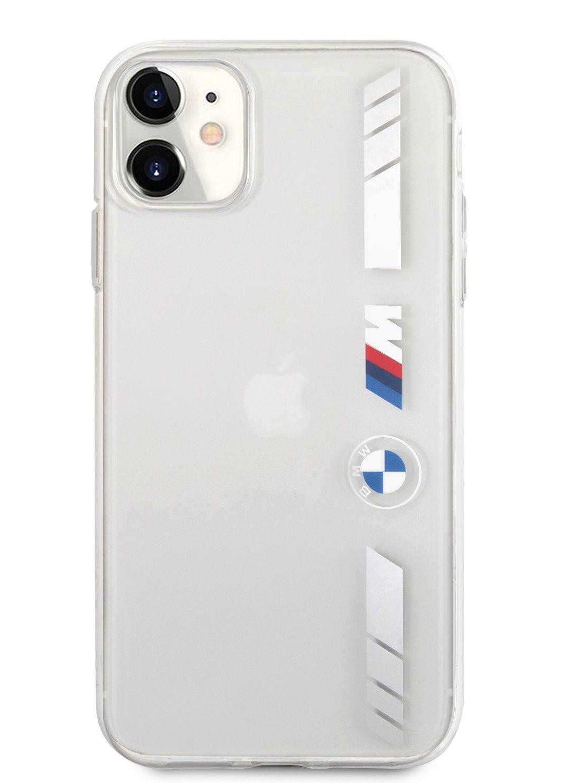 Ochranný kryt BMW M PC/TPU Silver Stripes BMHCP12LMKTSS pro Apple iPhone 12 Pro Max, transparentní