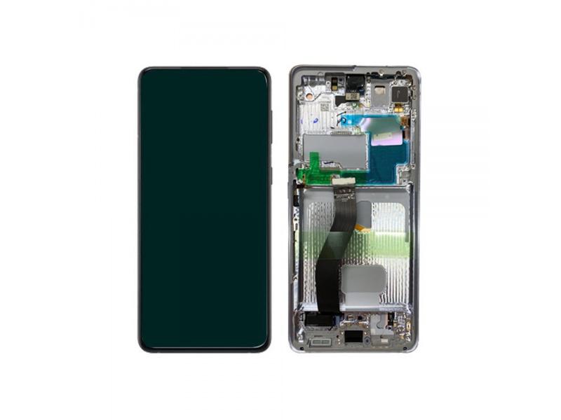 LCD + dotyk + rámeček pro Samsung Galaxy S21 Ultra 5G, phantom silver ( Service Pack )