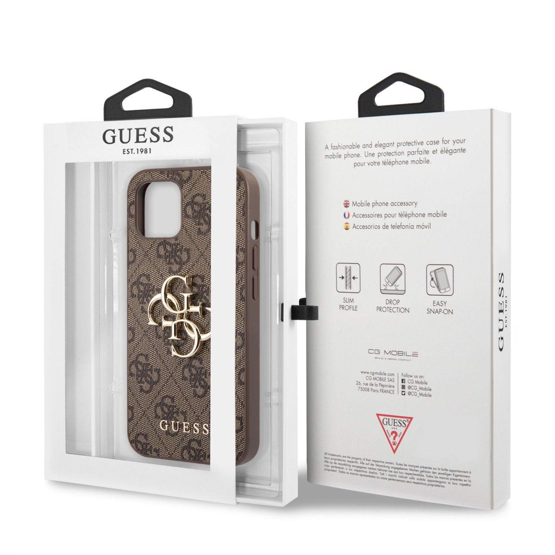 Zadní kryt Guess PU 4G Metal Logo GUHCP13M4GMGBR pro Apple iPhone 13, hnědá