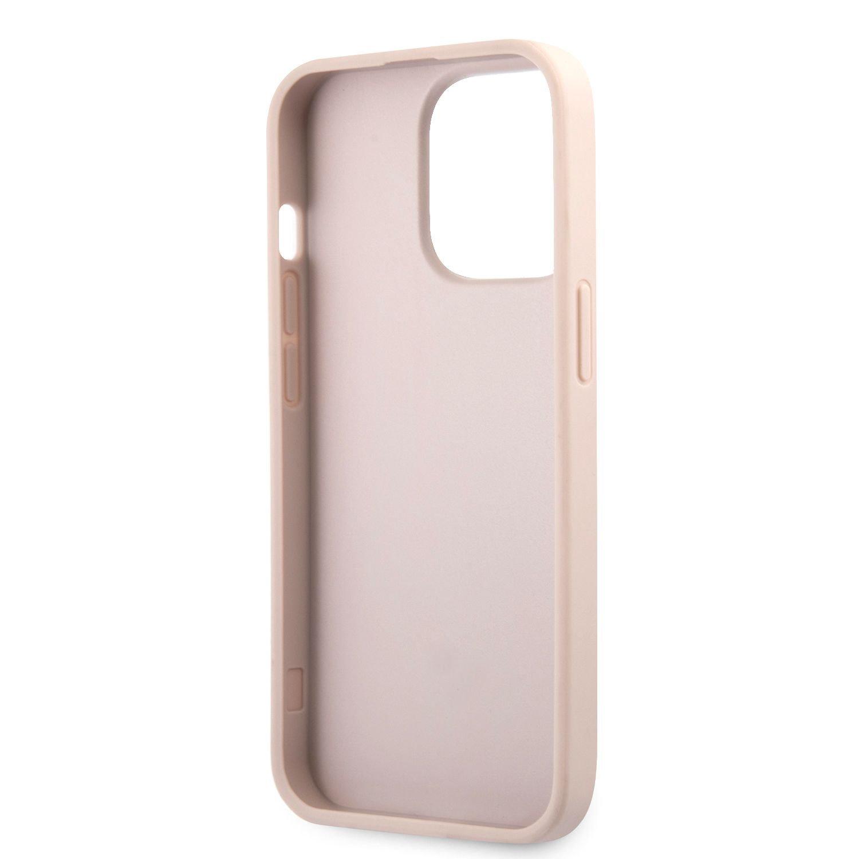Zadní kryt Guess PU 4G Metal Logo GUHCP13L4GMGPI pro Apple iPhone 13 Pro, růžová