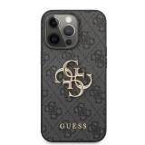 Zadní kryt Guess PU 4G Metal Logo GUHCP13L4GMGGR pro Apple iPhone 13 Pro, šedá