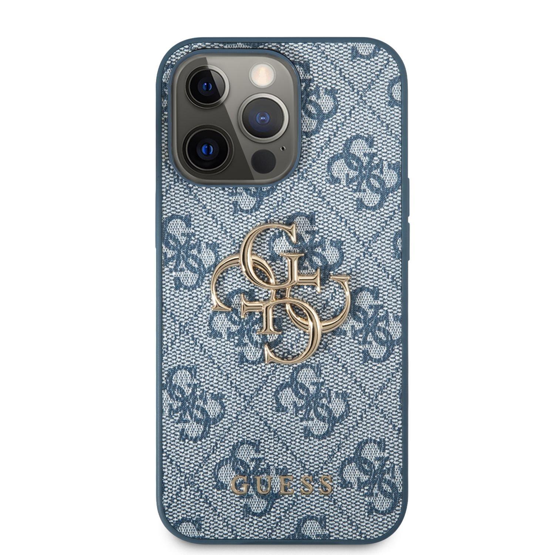 Zadní kryt Guess PU 4G Metal Logo GUHCP13X4GMGBL pro Apple iPhone 13 Pro Max, modrá
