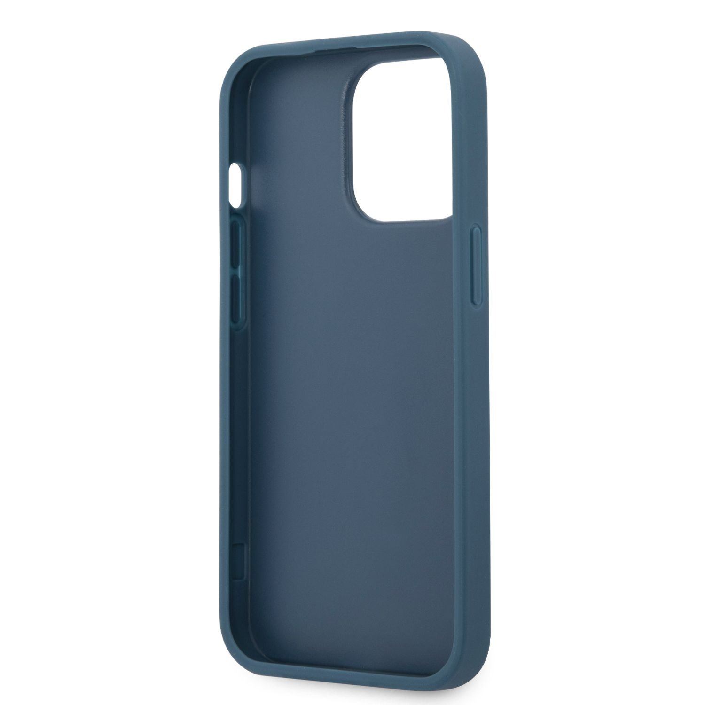 Zadní kryt Guess PU 4G Metal Logo GUHCP13M4GMGBL pro Apple iPhone 13, modrá