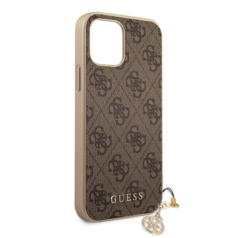 Guess 4G Charms zadní kryt GUHCP13SGF4GBR pro Apple iPhone 13 mini, hnědá