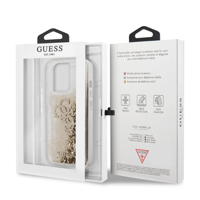 Zadní kryt Guess TPU Big 4G Liquid Glitter Gold GUHCP13LLG4GGO pro Apple iPhone 13 Pro, transparentní