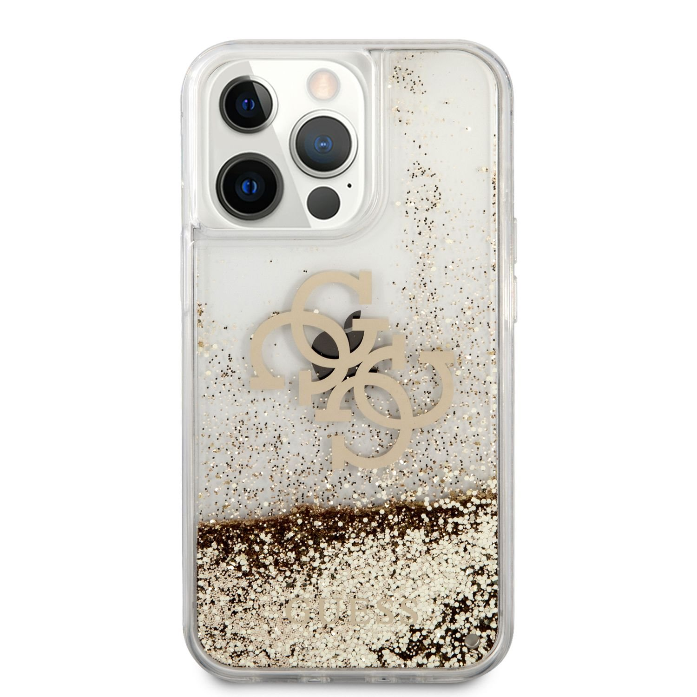Zadní kryt Guess TPU Big 4G Liquid Glitter Gold GUHCP13MLG4GGO pro Apple iPhone 13, transparentní