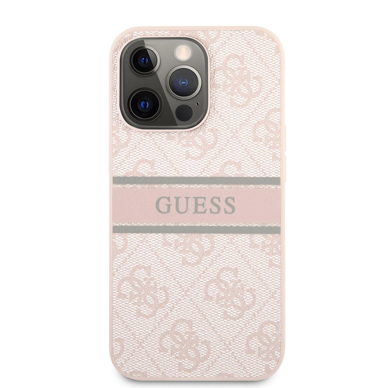Zadní kryt Guess PU 4G Printed Stripe GUHCP13X4GDPI pro Apple iPhone 13 Pro Max, růžová