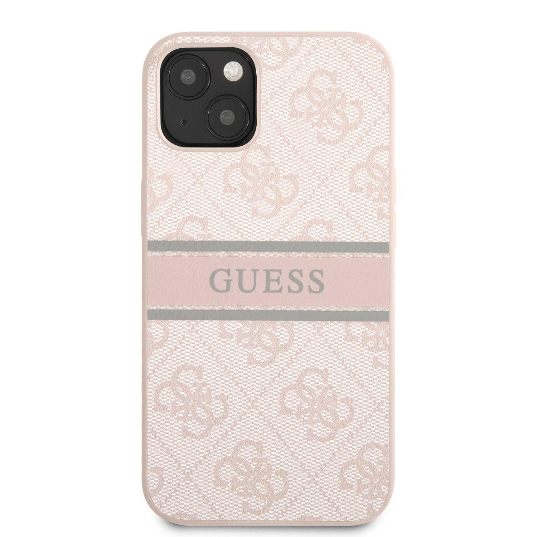 Zadní kryt Guess PU 4G Printed Stripe GUHCP13S4GDPI pro Apple iPhone 13 Mini, růžová