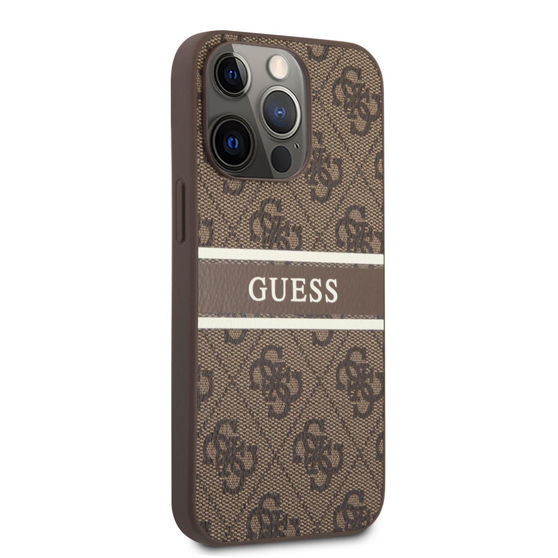 Zadní kryt Guess PU 4G Printed Stripe GUHCP13X4GDBR pro Apple iPhone 13 Pro Max, hnědá