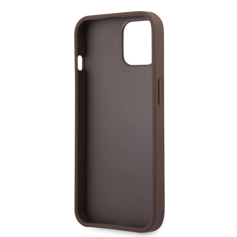 Zadní kryt Guess PU 4G Printed Stripe GUHCP13S4GDBR pro Apple iPhone 13 Mini, hnědá