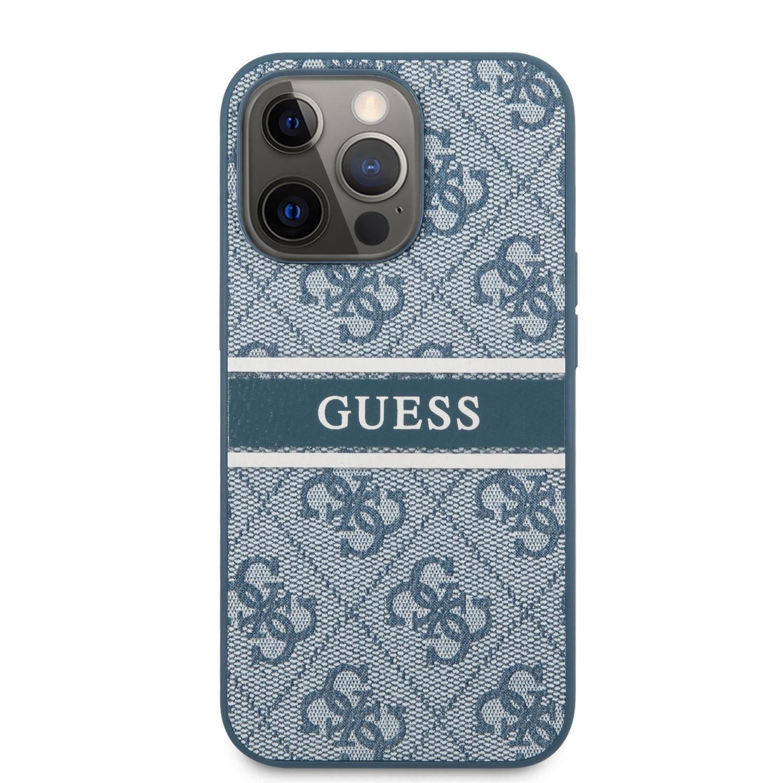 Zadní kryt Guess PU 4G Printed Stripe GUHCP13L4GDBL pro Apple iPhone 13 Pro, modrá