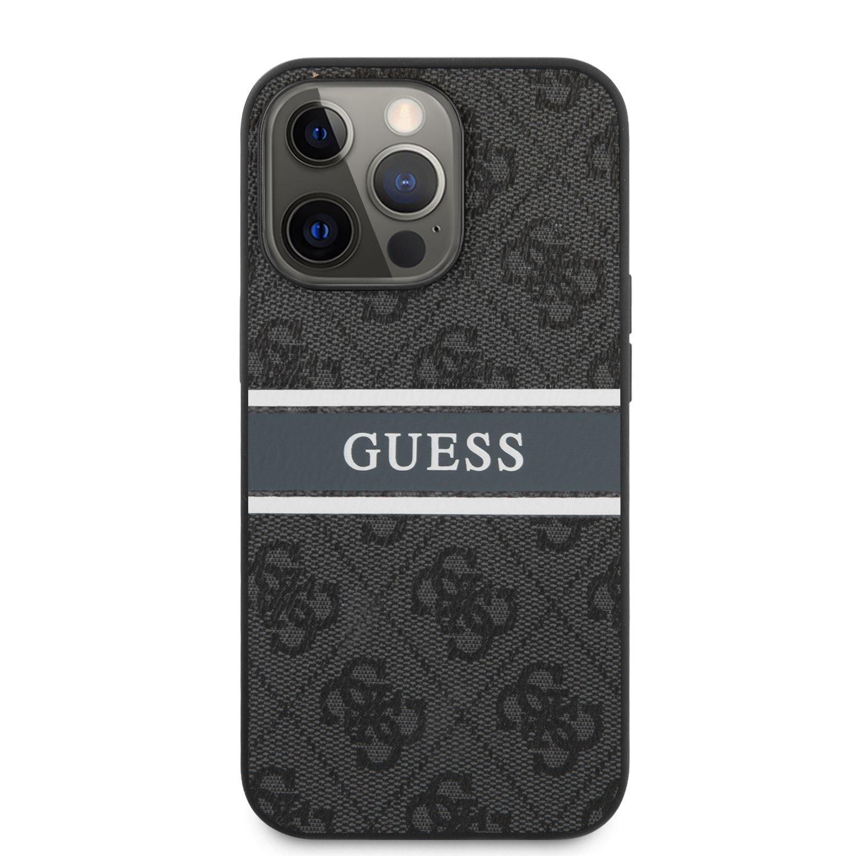 Zadní kryt Guess PU 4G Printed Stripe GUHCP13L4GDGR pro Apple iPhone 13 Pro, šedá