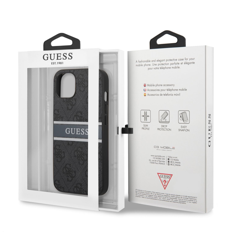 Zadní kryt Guess PU 4G Printed Stripe GUHCP13S4GDGR pro Apple iPhone 13 Mini, šedá
