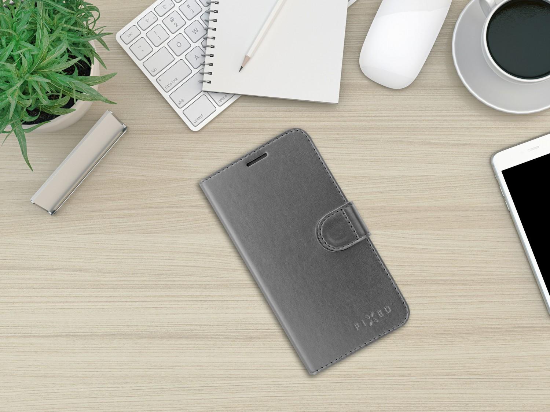 Flipové pouzdro FIXED FIT Shine pro Apple iPhone 13 mini, antracitová