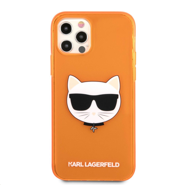 Silikonové pouzdro Karl Lagerfeld TPU Choupette Head KLHCP13MCHTRO pro Apple iPhone 13, oranžová