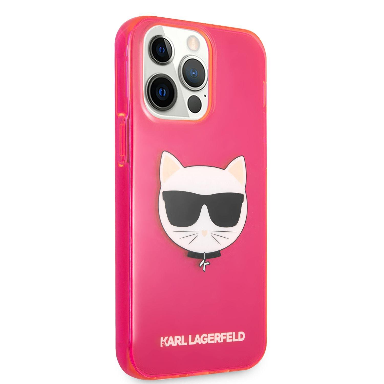 Silikonové pouzdro Karl Lagerfeld TPU Choupette Head KLHCP13LCHTRP pro Apple iPhone 13 Pro, růžová