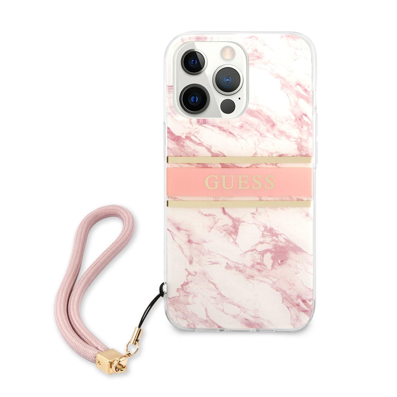 Zadní kryt Guess TPU Marble Stripe GUHCP13XKMABPI pro Apple iPhone 13 Pro Max, růžová