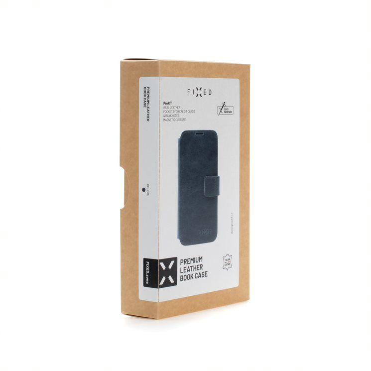 Kožené pouzdro typu kniha FIXED ProFit pro Apple iPhone 13 mini, modrá