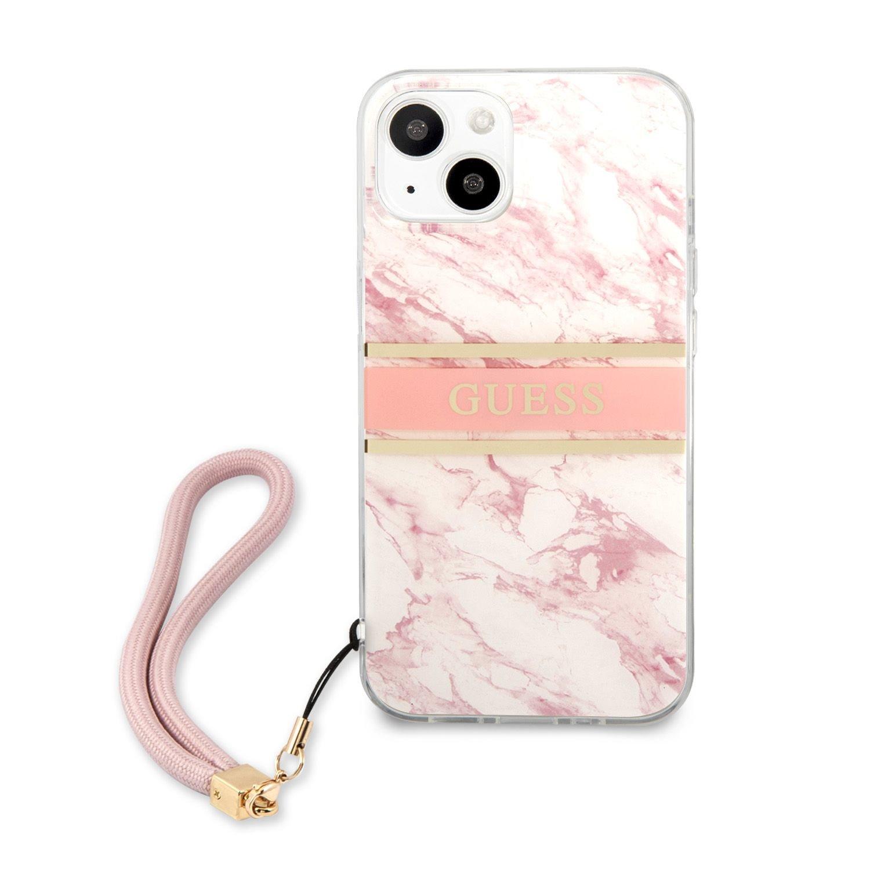 Zadní kryt Guess TPU Marble Stripe GUHCP13MKMABPI pro Apple iPhone 13, růžová