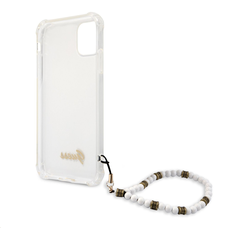 Zadní kryt Guess PC Script and White Pearls GUHCN61KPSWH pro Apple iPhone 11, transparentní