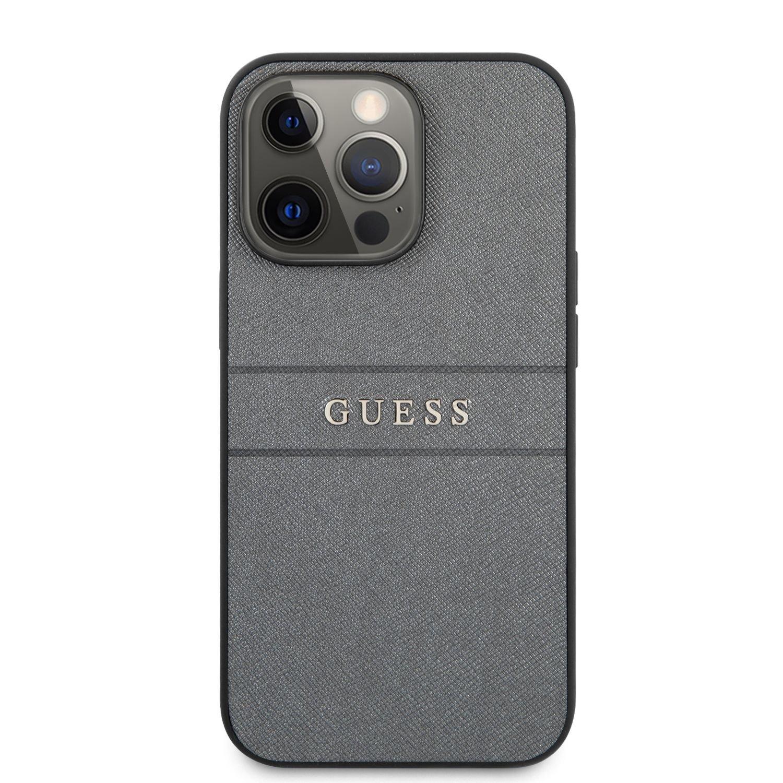 Zadní kryt Guess PU Leather Saffiano plast, PU pro Apple iPhone 13 Pro Max, šedá