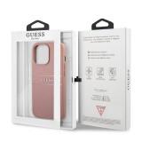 Zadní kryt Guess PU Leather Saffiano GUHCP13XPSASBPI pro Apple iPhone 13 Pro Max, růžová