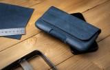 Horizontální kožené pouzdro FIXED Posh se zavíráním velikost 6XL+, modrá