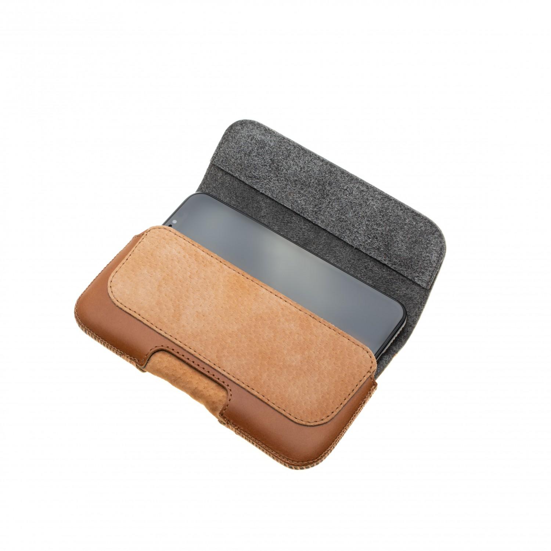 Horizontální kožené pouzdro FIXED Posh se zavíráním velikost 6XL+, hnědá