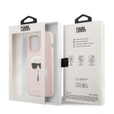 Zadní kryt Karl Lagerfeld Liquid Silicone Karl Head KLHCP13LSLKHP pro Apple iPhone 13 Pro, růžová