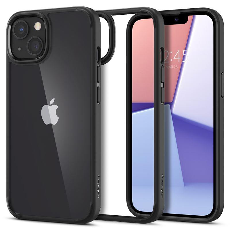 Ochranný kryt Spigen Crystal Hybrid matte black pro Apple iPhone 13, transparentní