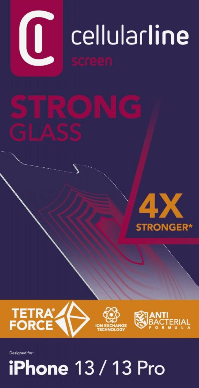 Prémiové ochranné tvrzené sklo Cellularline TETRA FORCE GLASS pro Apple iPhone 13/13 Pro