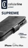 Cellularine Supreme flipové pouzdro pro Apple iPhone 13 Pro Max, černá