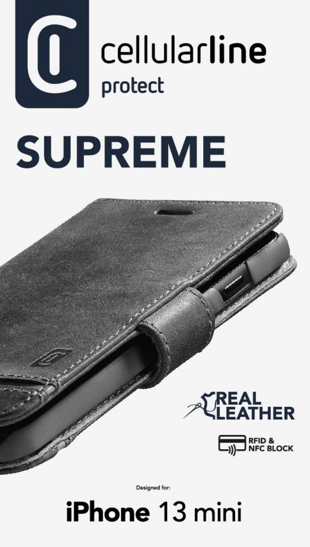 Cellularine Supreme flipové pouzdro pro Apple iPhone 13 Mini, černá