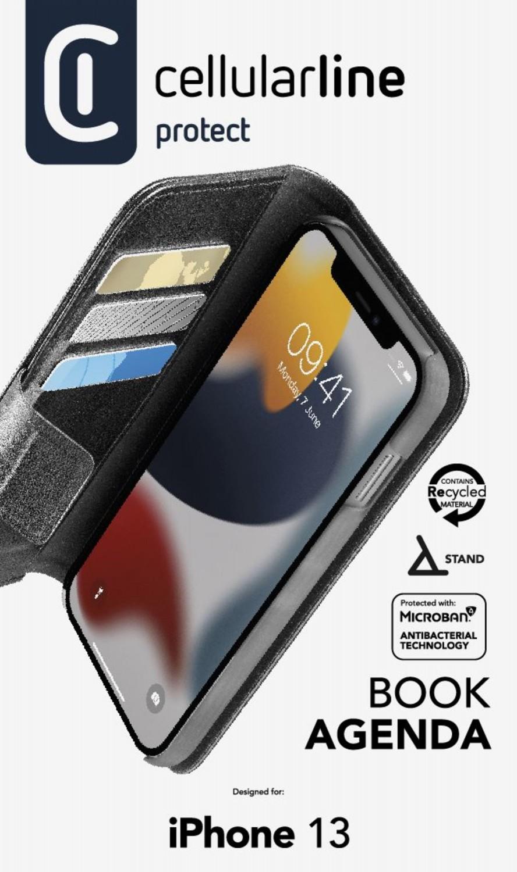 Cellularline Book Agenda 2 flipové pouzdro pro Apple iPhone 13, černá