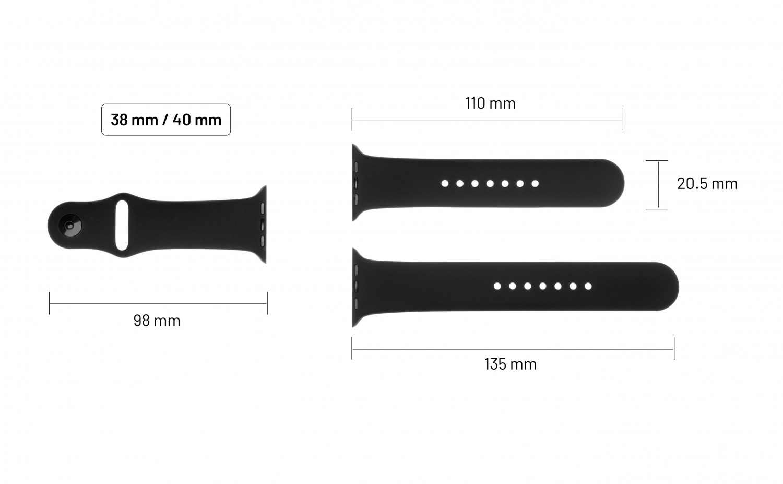 Set silikonových řemínků FIXED Silicone Strap pro Apple Watch 38/40/41 mm, světle tyrkysová