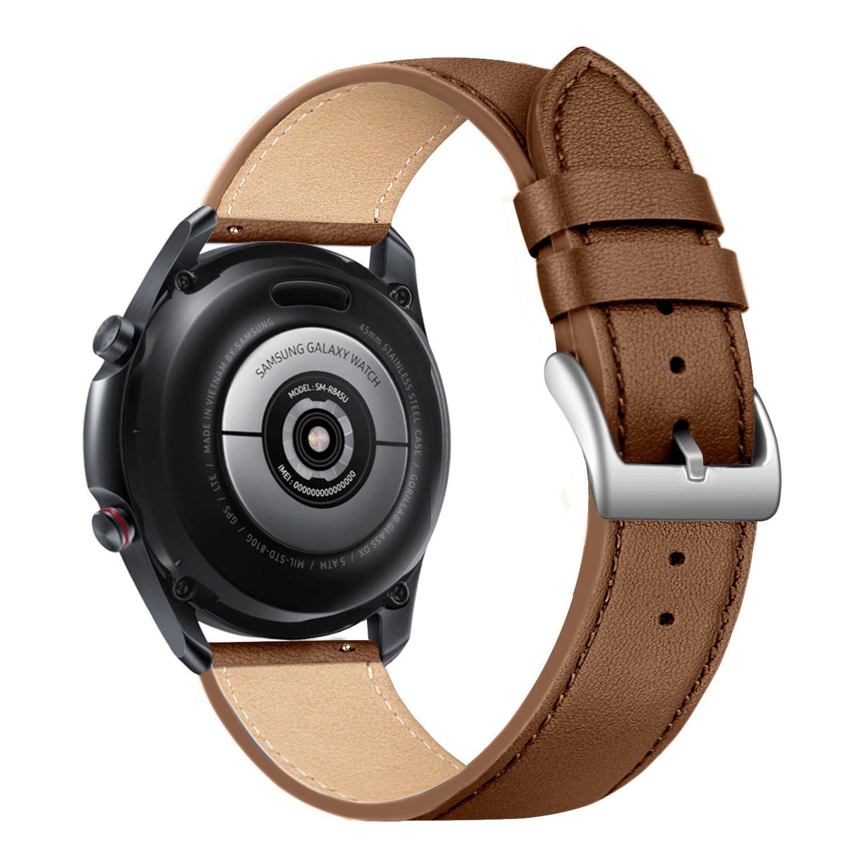 Kožený řemínek FIXED Leather Strap s šířkou 22mm pro smartwatch, hnědá