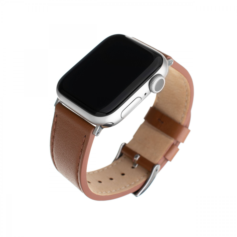 Kožený řemínek FIXED Leather Strap pro Apple Watch 42mm/44mm, hnědá