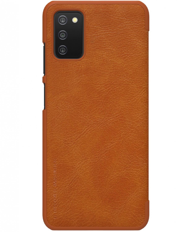 Nillkin Qin flipové pouzdro pro Samsung Galaxy A03s, hnědá